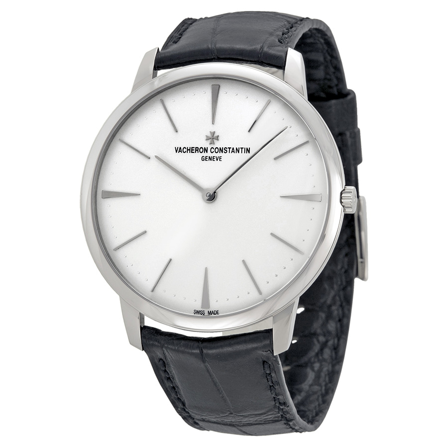 Vacheron Constantin Silver Dial With Black Leather Strap
