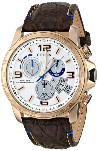 Side of Citizen BY0103-02A Chrono-Time A-T Eco Drive rose gold watch