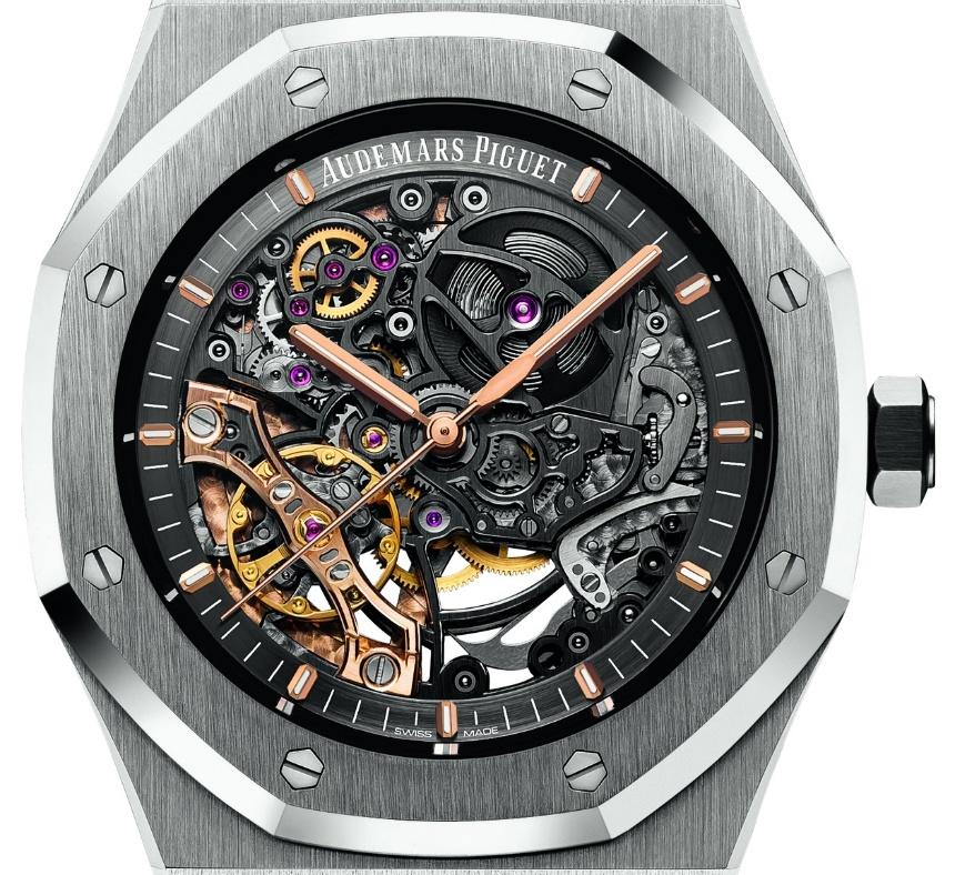 Audemars Piguet Royal Oak Double Balance Wheel Openworked steel watch dial