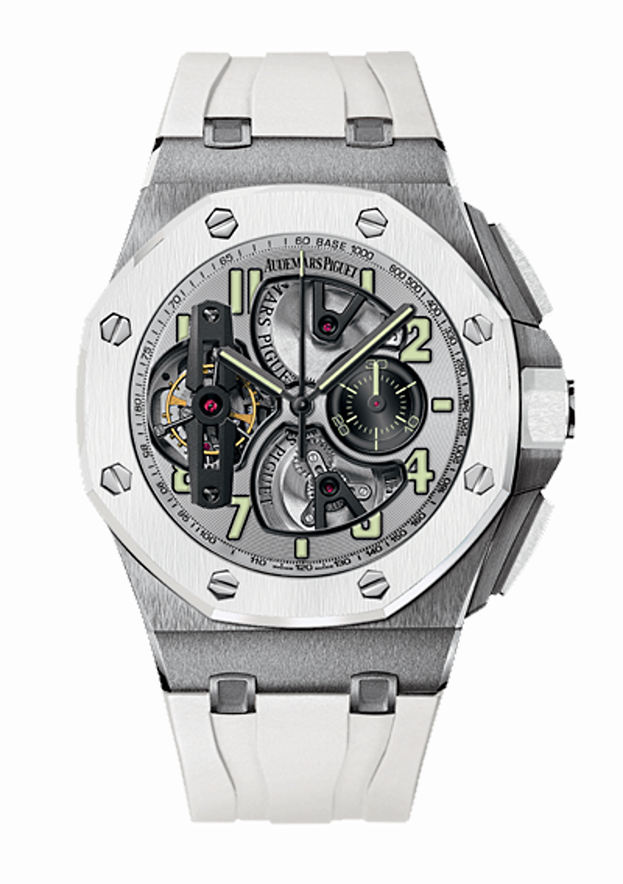Front of Audemars Piguet Royal Oak Offshore Tourbillon Chronograph ref. 26387IO.OO.D010CA.01