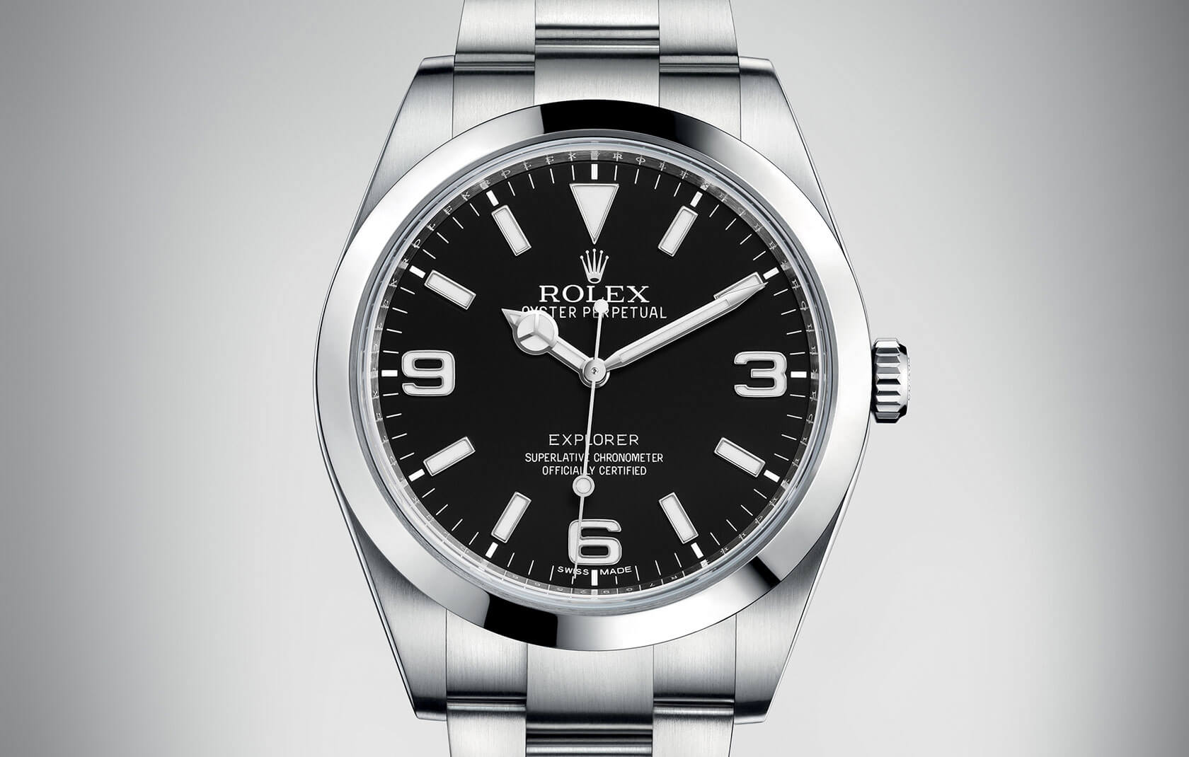 Front of Rolex Oyster Perpetual Explorer Ref. 214270
