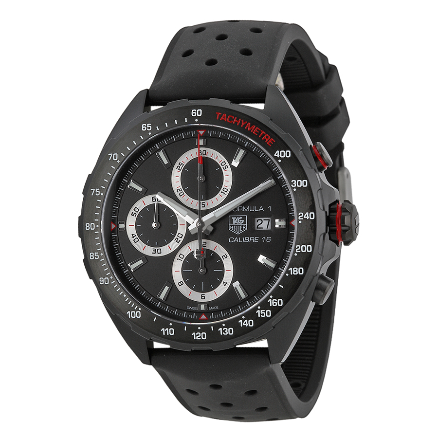 Tag Heuer Black Dial Men's Watch With Black Rubber